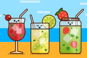 3款可爱沙滩上的笑脸鸡尾酒矢量图