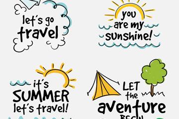 4款手绘夏季度假艺术字矢量图