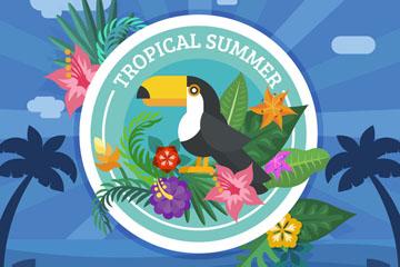 创意热带夏季大嘴鸟和花卉矢量图