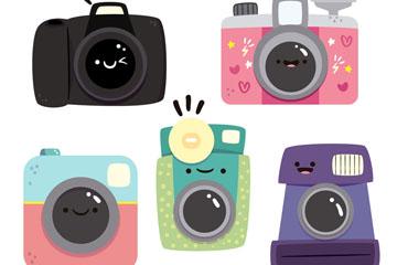 5款卡通表情照相机矢量素材