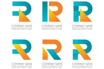 6款彩色字母R商务标志矢量图