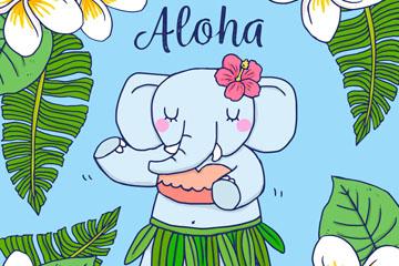 彩绘夏威夷跳舞的大象矢量素材