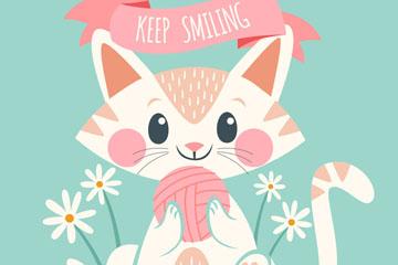 可爱抱线团的微笑猫咪矢量素材