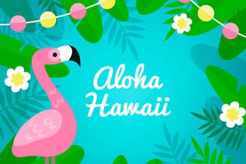彩色夏威夷火烈鸟和花草矢量图