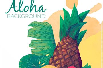 水彩绘夏威夷凤梨和扶桑花矢量图