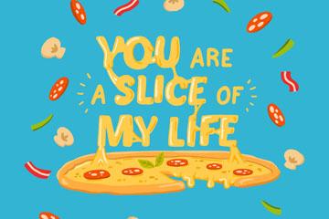 彩绘披萨隽语矢量素材