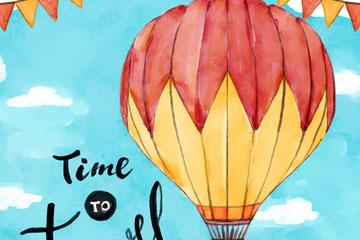彩绘空中的热气球矢量素材