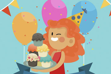 卡通生日派对端蛋糕的女孩矢量图