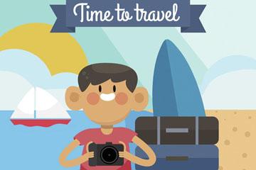 卡通海边旅行照相的男子矢量素材