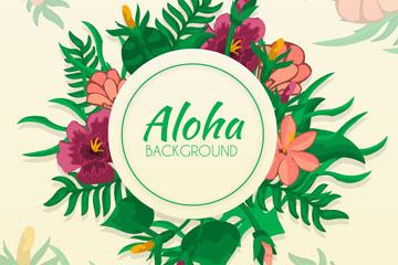 彩绘夏威夷花环矢量素材