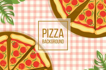 创意餐桌上的2盘披萨矢量素材