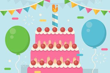 创意生日派对上的粉色生日蛋糕矢量图