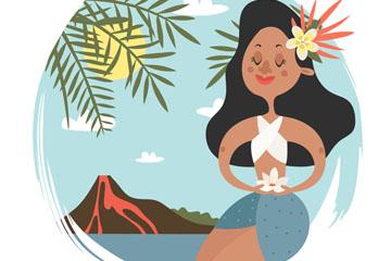 创意跳舞的夏威夷女子矢量素材