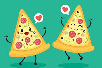 2片可爱表情三角披萨矢量素材