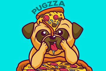 卡通吃披萨的巴哥犬矢量素材
