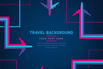 彩色抽象飞机和轨迹背景矢量图