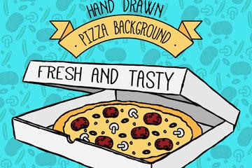 手绘美味盒装披萨矢量素材