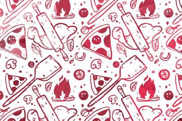 彩绘披萨元素无缝背景矢量图