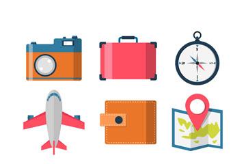 9款彩色旅行元素图标矢量素材