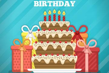 彩色生日派对蛋糕和礼盒矢量素材
