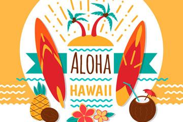 彩色质感夏威夷度假元素标签矢量图