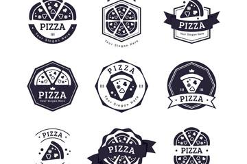 9款黑色披萨店标志矢量素材