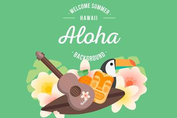 创意夏季夏威夷元素标签矢量素材