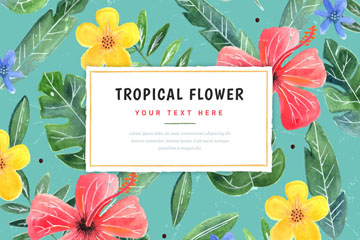 彩绘热带花卉无缝背景矢量图