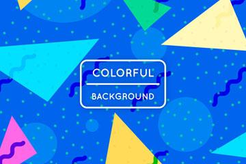 彩色三角形和水玉点背景矢量素材