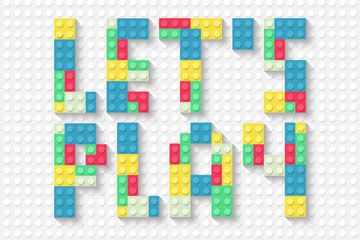 创意让我们玩乐高积木艺术字矢量梦之城娱乐