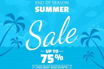 蓝色棕榈树夏季假期促销海报矢量