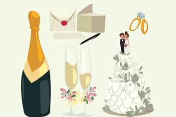 8款创意婚礼用品设计矢量素材