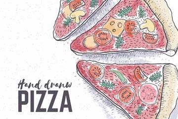 彩绘3片美味三角披萨矢量素材
