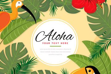 创意夏威夷花鸟边框矢量素材