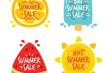 4款彩绘夏季元素促销标签矢量素材