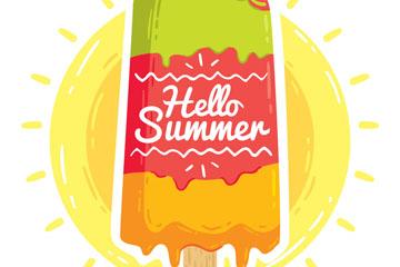 彩绘夏季雪糕和太阳矢量素材