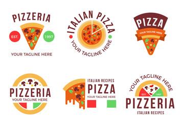 6款彩色披萨标志设计矢量素材