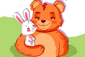 卡通笑脸兔子和熊朋友矢量素材