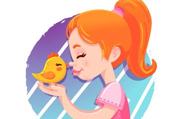 卡通橙发女孩和鸡仔矢量素材