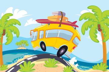 彩色沙滩度假车插画矢量素材