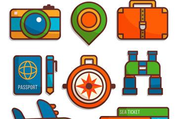 9款彩色旅行度假用品矢量素材
