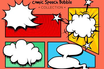 5款彩色漫画风格语言气泡矢量素材