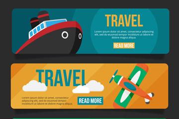 3款创意旅行工具banner矢量素材