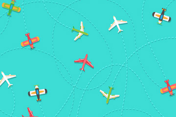 彩色飞机和轨迹无缝背景矢量图