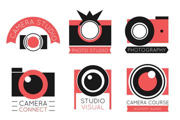 6款红色照相机标志矢量素材
