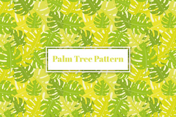 绿色棕榈树叶无缝背景矢量图