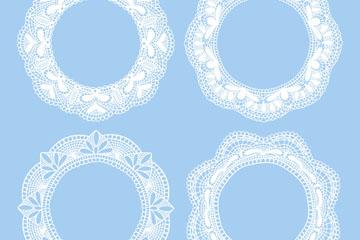 4款白色蕾丝花纹圆环矢量素材