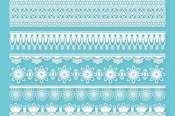 8款白色蕾丝花边设计矢量素材