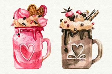 2款水彩绘美味芭菲冰淇淋矢量素材