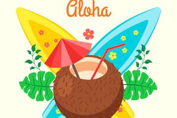 彩色夏威夷椰汁和冲浪板矢量图